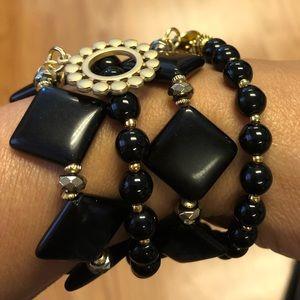 Set 4 bracelet Ónix Gold Plated